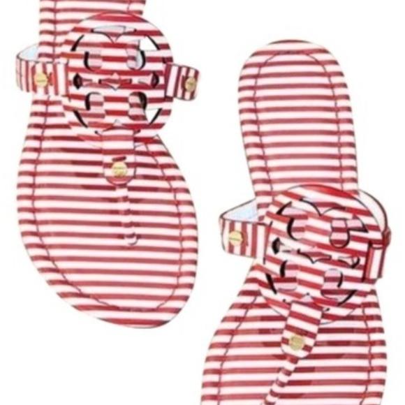 8b578b10e2a0 NEW Tory Burch Miller Nautical Stripes Sandals. M 5c7965e445c8b33986306f1f